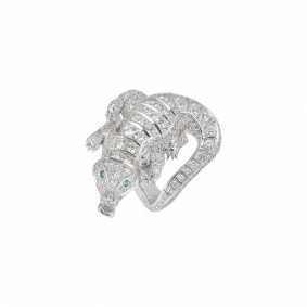 Diamond Set Alligator Dress Ring in Platinum 5.75ct